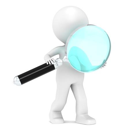 black man: 3D Little Human Character holding a Magnifying glass. Light Blue Lens Effect.