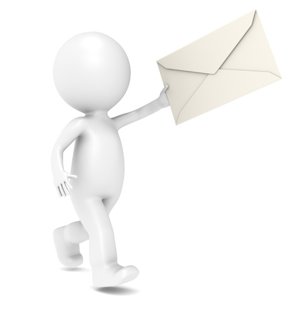 sending: 3d humanos correteando con un sobre. Aislado