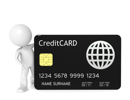 3D little human character holding a Credit Card. Isolated. photo
