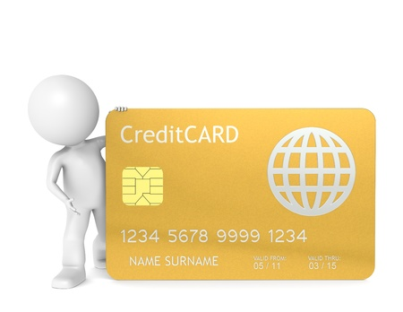 online transaction: 3D little human character holding a Gold Credit Card. Isolated.