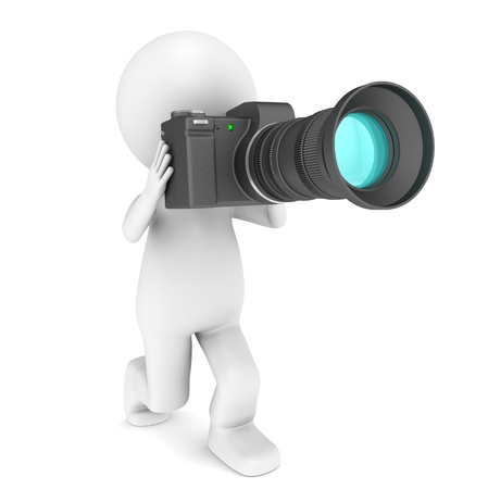 3d little human character with a camera. Isolated Stock Photo - 9976788