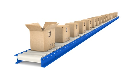 conveyor belts: Conveyor Belt, one open Box. Blue and steel. Part of Blue warehouse and logistics series.