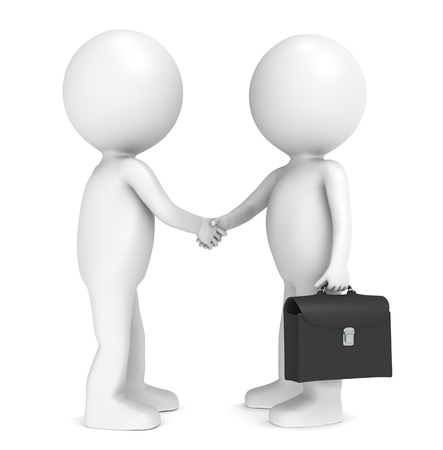 3D little human character X 2 shaking hands. Black Briefcase Stock Photo - 10041293
