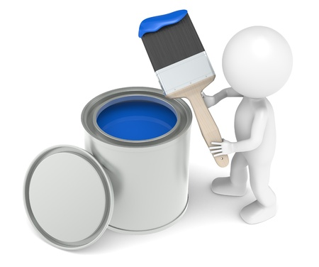 repairmen: 3D little human character Painting. Blue Color Stock Photo
