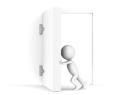 3D little human character opens a massive door. Copy Space photo