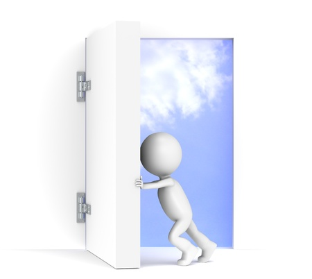 massive: 3D little human character opens a massive door. Sky background with luminance. Stock Photo