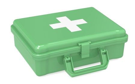 first aid box: First aid kit. Green, isolated.