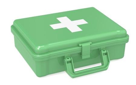 first aid kit: Kit de primeros auxilios. Green, aislado. Foto de archivo