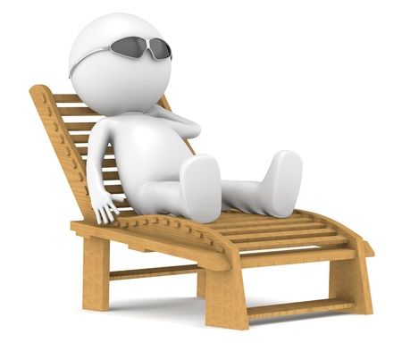 human character: 3D little human character lying on a Patio Chair in the sun  Stock Photo