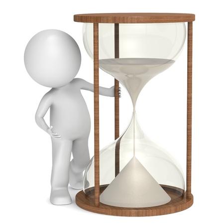 reloj de arena: 3D poco carácter humano con un reloj de arena