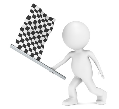 the end: Competition. 3D little human character holding Checker Flag  Stock Photo