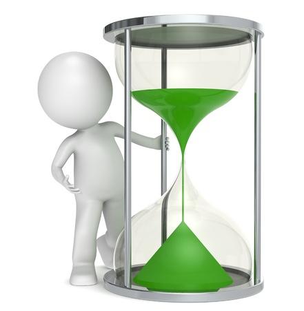 reloj de arena: 3D poco carácter humano con un reloj de arena con arena verde.