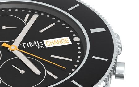 next year: Close up of a Chronograph Wrist watch. Orange Stock Photo
