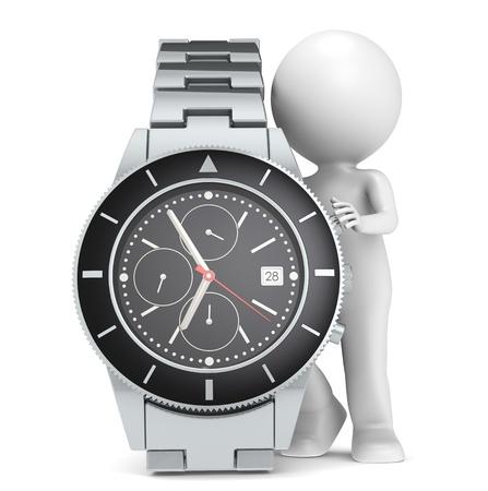 cron�grafo: 3D poco car�cter humano con un reloj cron�grafo
