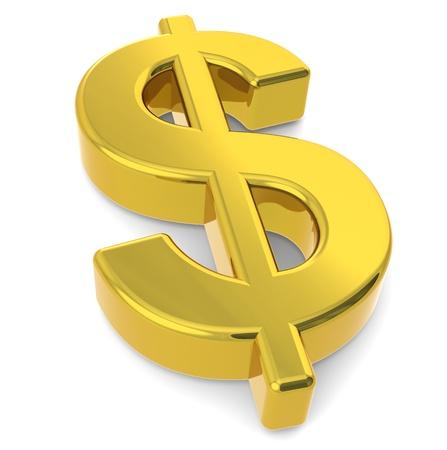 us  money: A 3D golden dollar sign