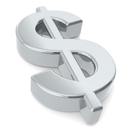 dollar signs: Dollar sign. A 3D dollar sign. Metal