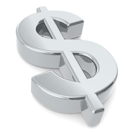signos de pesos: Signo de dólar. Un signo de dólar 3D. Metal Foto de archivo