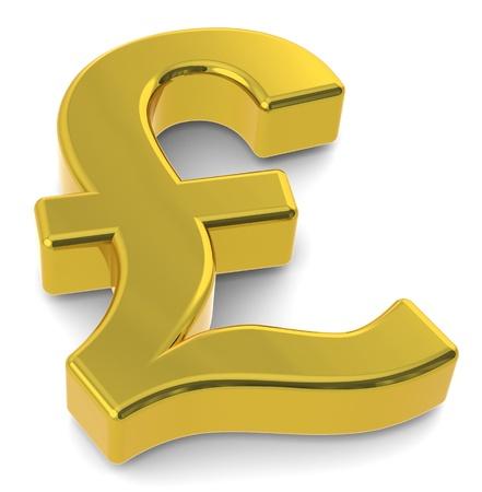symbol british: 3D British Pound symbol. Gold Stock Photo
