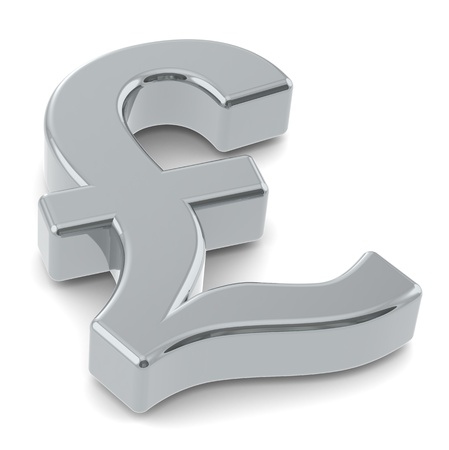 gbp: 3D British Pound symbol. Silver Stock Photo