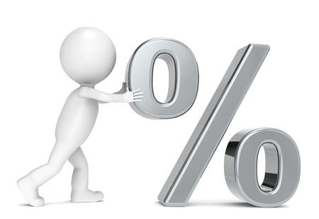 3D little human character pushing a Percentage Symbol photo