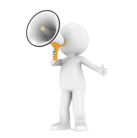 3d little human character with a white and orange megaphone photo