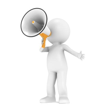 marionetta: 3d piccolo personaggio umano, con un megafono bianco e arancione