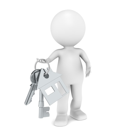real estate sold: 3D little human character holding a pair of House Keys.  Stock Photo