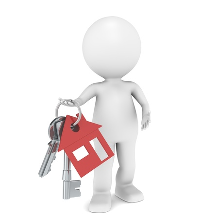 Real Estate Agent. 3D little human character holding a pair of House Keys. Red Stock Photo