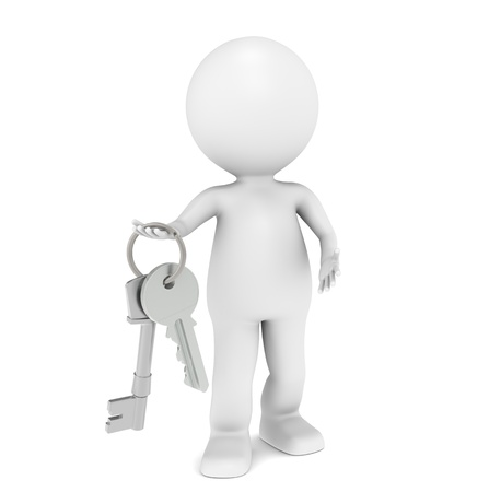 closing: 3D little human character holding a pair of Keys.  Stock Photo