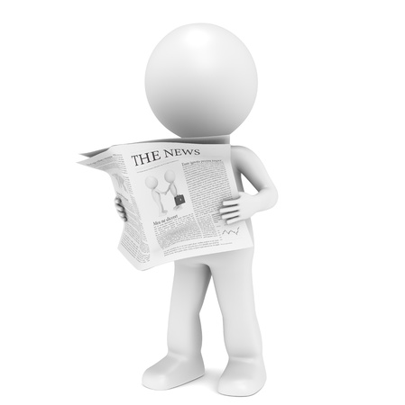 3D little human character Reading a News Paper. photo