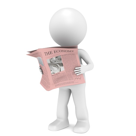 daily: 3D little human character Reading a Financial News Paper.  Stock Photo