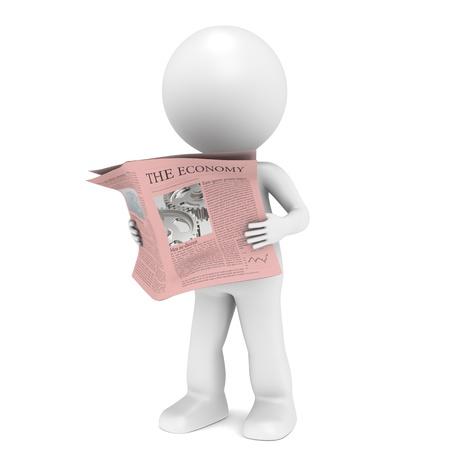 3D little human character Reading a Financial News Paper.  photo