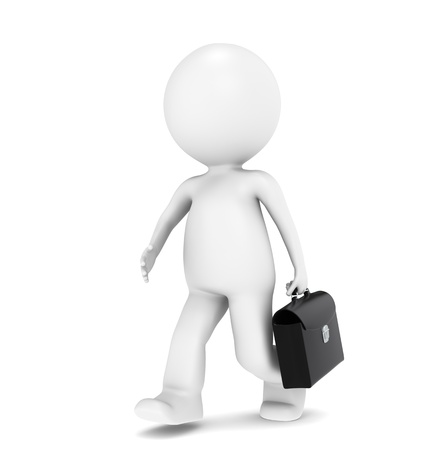 3D little human character rushing with a Briefcase photo