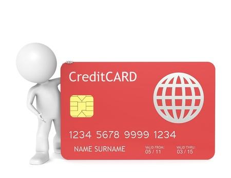 tarjeta visa: 3D poco carácter humano sosteniendo un aislado de la tarjeta de crédito rojo.