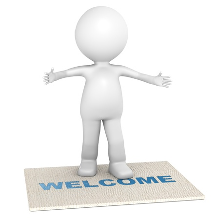 welcome: 3D little human character giving a warm welcome