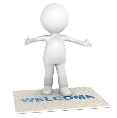 bienvenida: 3D poco car�cter humano dando una c�lida bienvenida Foto de archivo