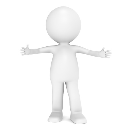 personnage: 3D petit personnage humain donnant une accolade