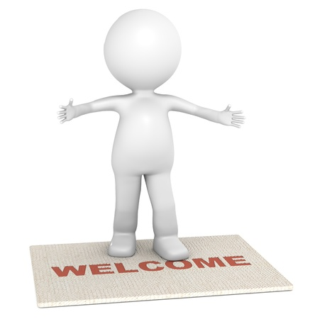 welcome sign: 3D little human character standing on a doormat