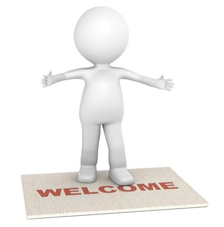 bienvenidos: 3D poco permanente de car�cter humano en un felpudo