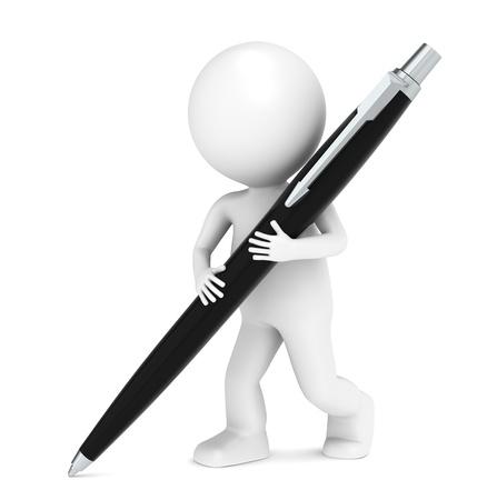 3D kleinen menschlichen Charakter Schreiben mit einem Stift. Schwarz