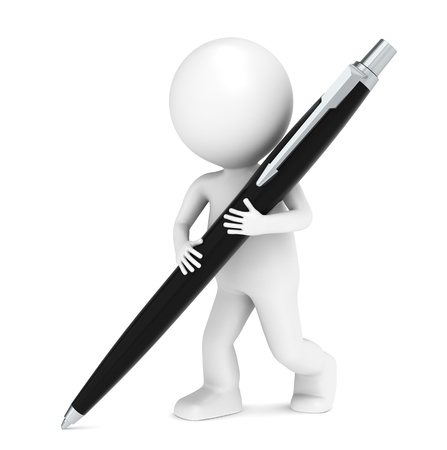 business report: 3D little human character writing with a Pen. Black