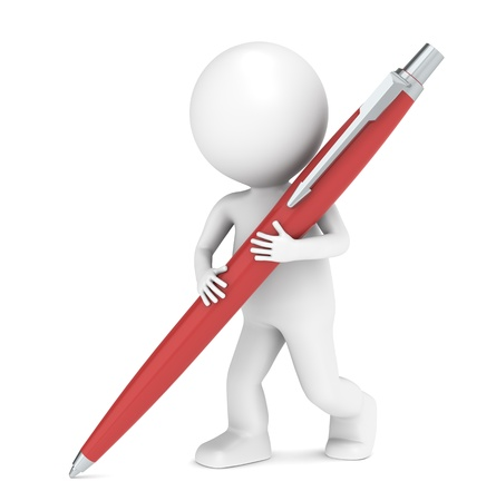 a character: 3D little human character writing with a Pen. Red Stock Photo