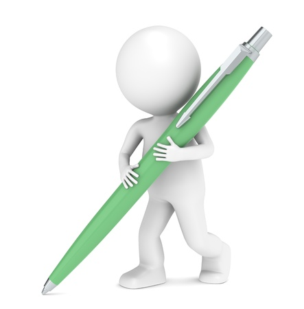 3D little human character writing with a Pen. Green Stock Photo