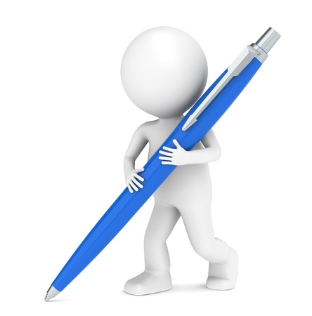 3D little human character writing with a Pen. Blue photo