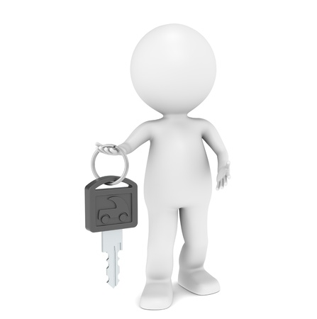 automobile dealership: 3D little human character with a Car Key. Black