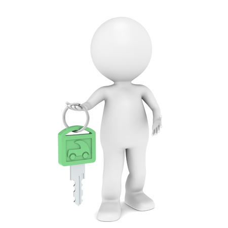 3D little human character with a Car Key. Green photo