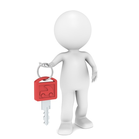 3D little human character with a Car Key. Red photo