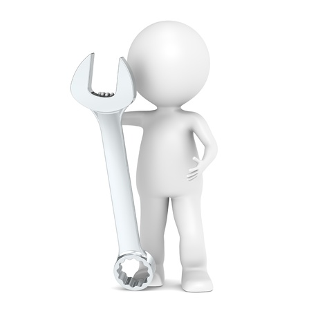 3D little human character with a Wrench photo