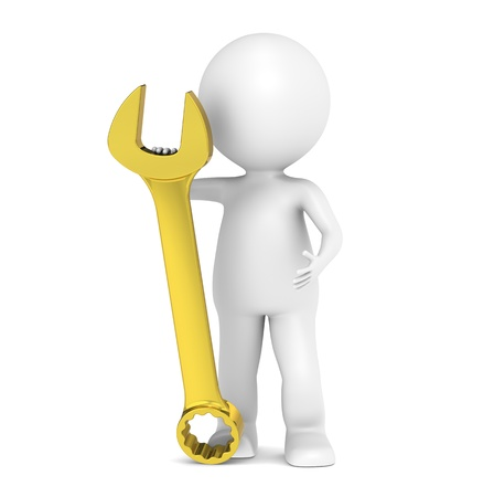 3d character: 3D little human character with a Golden Wrench