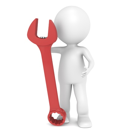 3D little human character with a Red Wrench Stock Photo